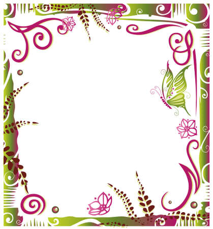 Colorful frame with abstract flowers and butterfly Vector