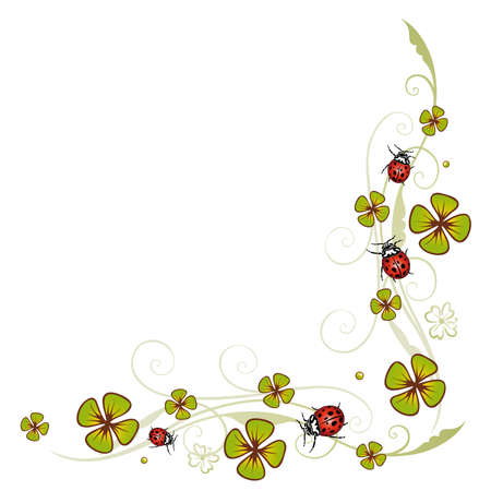 Tendril with clover and ladybugs Vector