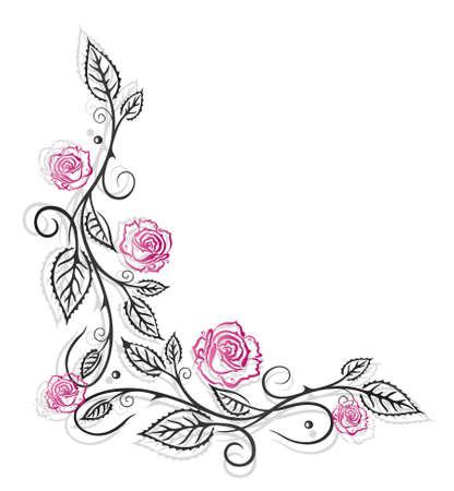 Roses decoration, filigree leaves, border Vector
