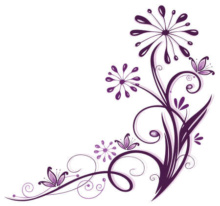 animal border: Purple and filigree flowers, floral element