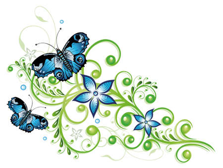 vine border: Blue flowers and butterflies, floral element Illustration