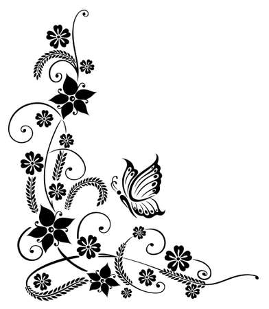 vine border: Filigree and abstract black flowers with butterfly Illustration