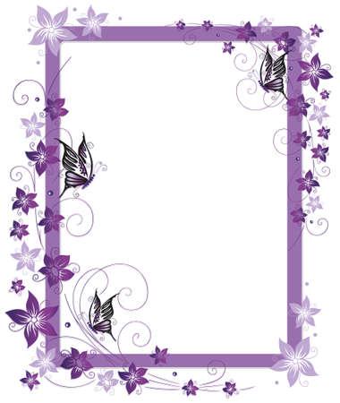 porpora: Bella cornice con fiori viola e farfalla