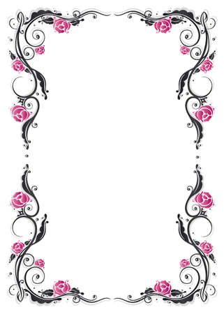 filigree frame: Roses decoration, filigree leaves, frame