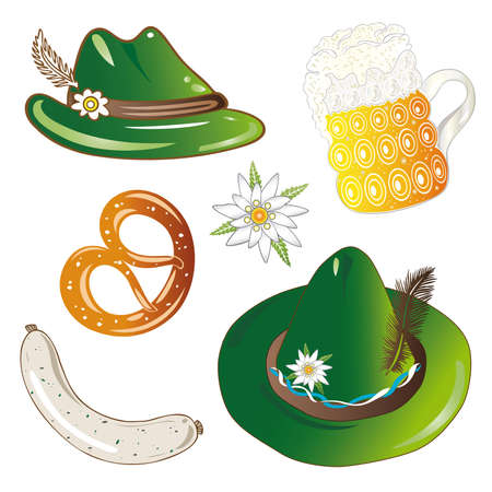oktoberfest food: Oktoberfest design elements, hats, beer and food