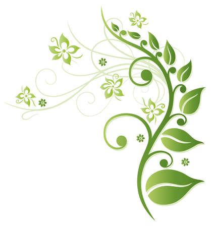 Green flowers, colorful spring time Illustration