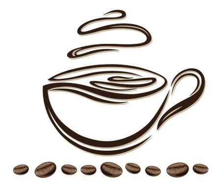 coffee beans: La taza de caf� de colores con los granos de caf� Vectores