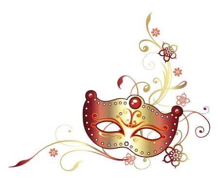 carnival border: Colorful carnival decoration, mask in golden and red