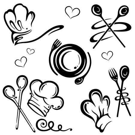 Vector set, chef hats and kitchen utensils Vector