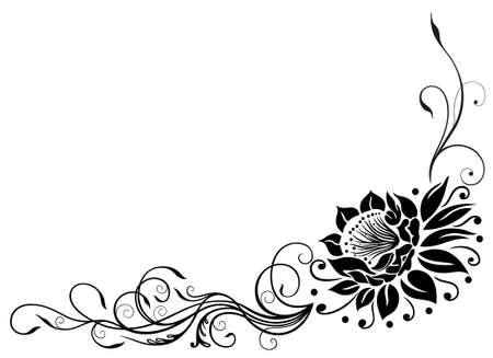 Filigree lotus flower, black border