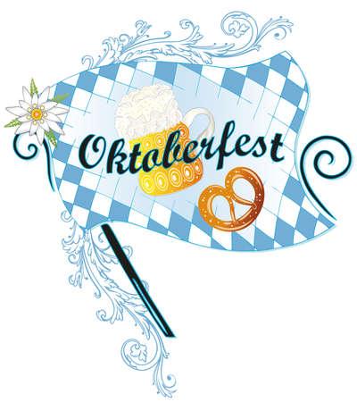 Oktoberfest decoration, beer with flag and pretzel Vector