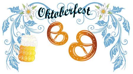 comida alemana: Decoración colorida Oktoberfest con cerveza y pretzel