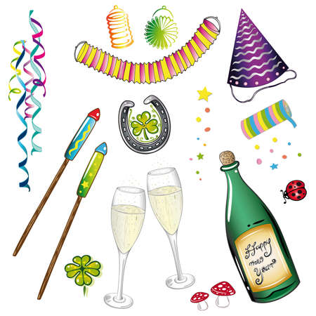 new years eve: Colorful design elements, new years eve