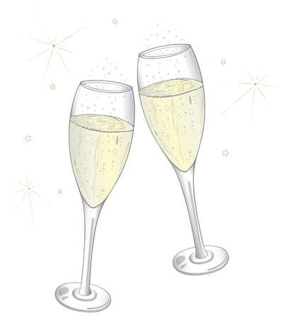 fin de a�o: Copas de champa�a de colores, noche vieja Vectores