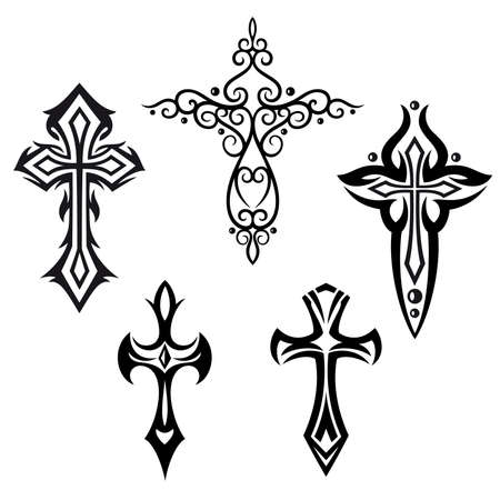 kruzifix: Vector mit Kreuze Kruzifix, religi�se Design-Elemente gesetzt Illustration