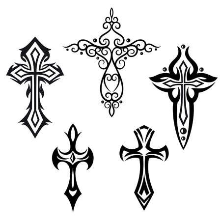 gothique: Vector set avec des croix crucifix, des �l�ments de conception religieux
