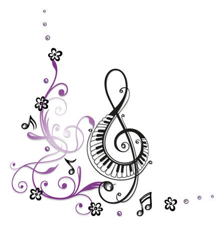 Clef with flowers and music notes  Vector