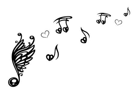 notes: Big music note with wings, music notes with love