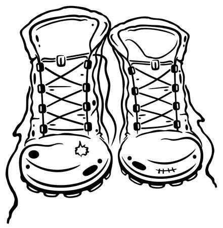 Für die Liebhaber von Wandern, Wanderschuhe Illustration