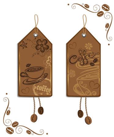 chicchi di caff�: Etichette colorate con caff�, tazze di caff� e chicchi di caff�