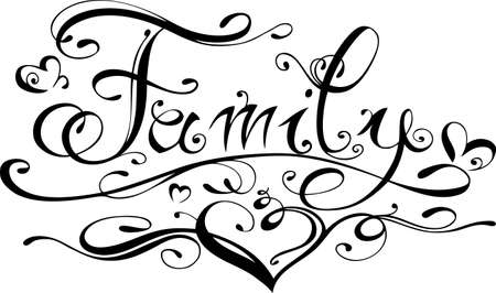 Family lettering, illustration with love Vector