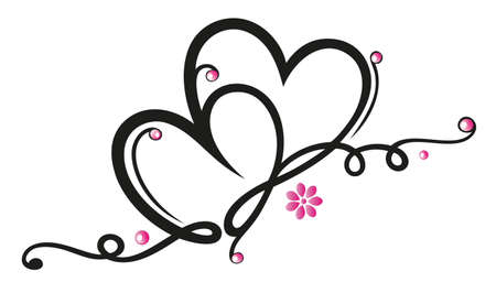 Filigree border with hearts, valentines day decoration  Vector