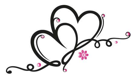Filigree Grenze mit Herzen, Valentines Tag Dekoration