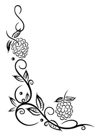 lithe: Border with raspberries and leaves  Illustration