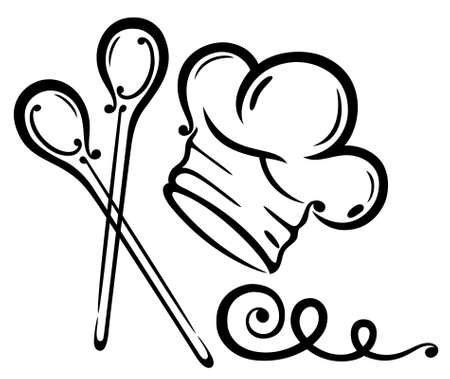 wooden spoon: Chef hat with cooking spoons, black illustration