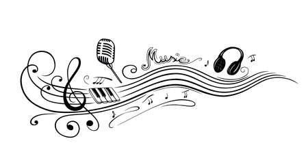 music sheet: Clef with music notes, microphone and piano