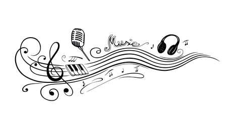 Notenschlüssel mit Musiknoten, Mikrofon und Klavier