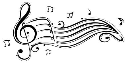 Clef with music sheet and music notes  Vector
