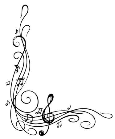notes music: Clef with music sheet and music notes, border