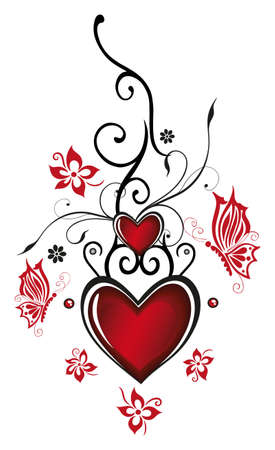 Valentines day decoration, Hearts with flowers and butterflies  Vector