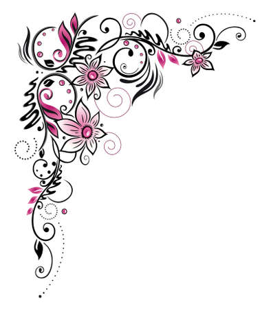 Colorful flower decoration, tribal and tattoo style