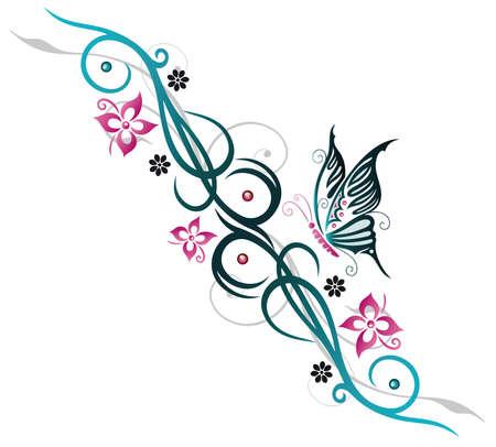 farfalla tatuaggio: Variopinti fiori estivi, bordo blu e rosa Vettoriali
