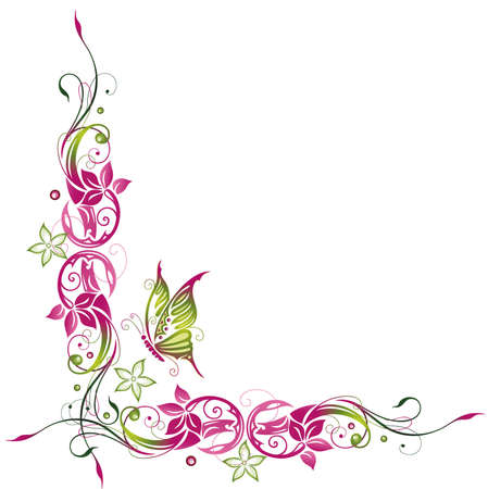 pink butterfly: Colorful summer time, green and pink flowers with butterfly Illustration
