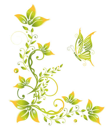 yellow butterfly: Colorful spring, green and yellow flowers with butterfly Illustration