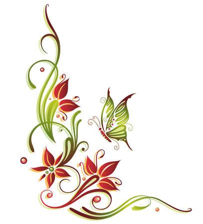 Bunte Sommerblumen, grüne und rote Illustration