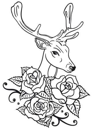 rosas negras: Ciervos y hermosas rosas, ilustración vectorial