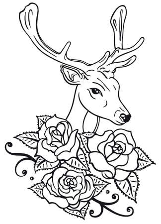 rosary: Deer and beautiful roses, vector illustration