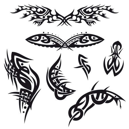 Black abstract tribal and tattoo vector set Vector