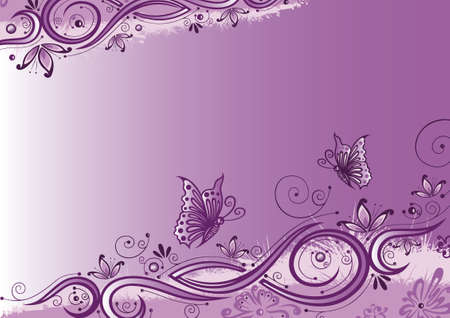 Colorful purple background, abstract flowers with butterflies Vector