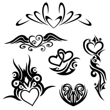 Black abstract tribal and tattoo vector set, hearts Vector