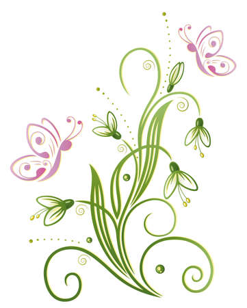 spring flowers: Colorful spring time decoration, snowdrop Illustration