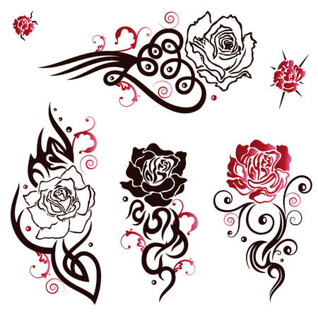 rose tattoo: Black and red tribal and tattoo vector set, roses Illustration