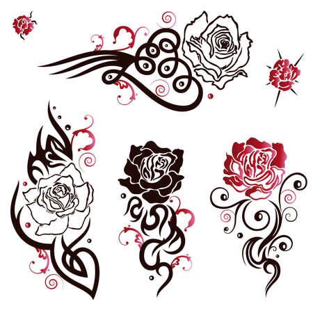 love rose: Conjunto tribal y tatuaje vector negro y rojo, rosas