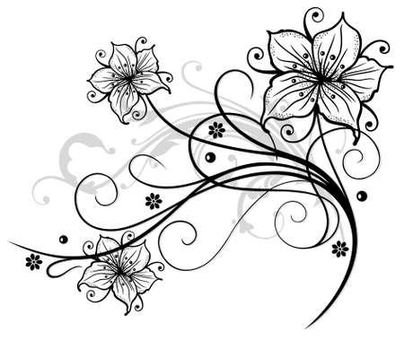 Schöne Lilien und abstrakten Blumen