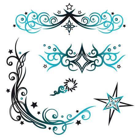 Bunte Tribal mit Sternen, schwarz und blau