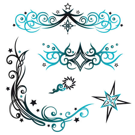 star tattoo: Colorful tribal with stars, black and blue